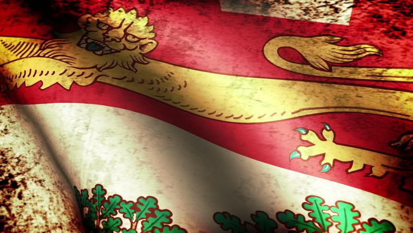 Prince Edward Island Flag Waving, grunge look