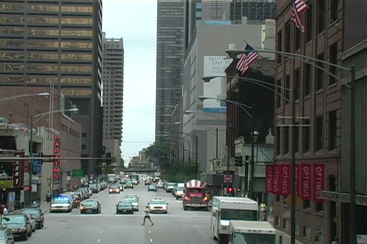A traffic on a street in Chicago, Illinois. - SD stock footage clip