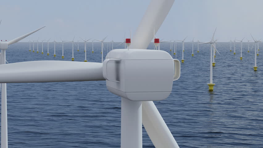 Camera rotates around a single wind turbine in an offshore wind farm. Seamless loop. - HD stock footage clip