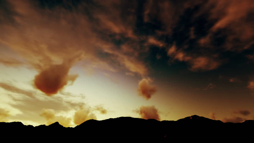 Heavenly Timelapse Clouds, Sunrise over Mountains - HD stock video clip