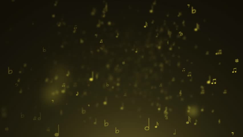 Yellow background of music notes - HD stock footage clip