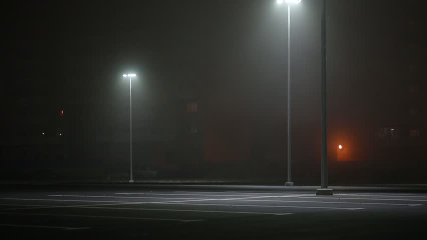 lantern shining in the night in the parking - HD stock video clip