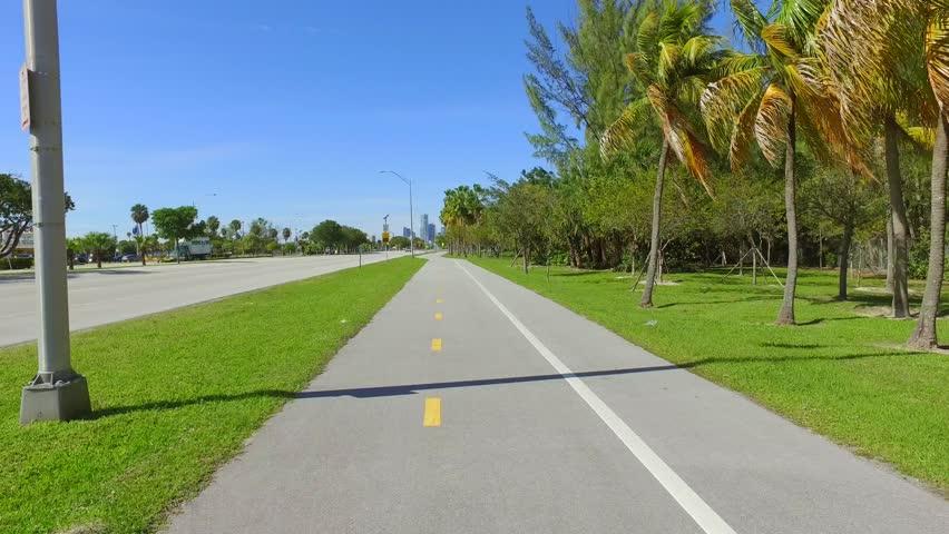 Bike path Key Biscayne Miami FL   Shutterstock HD Video #14905987