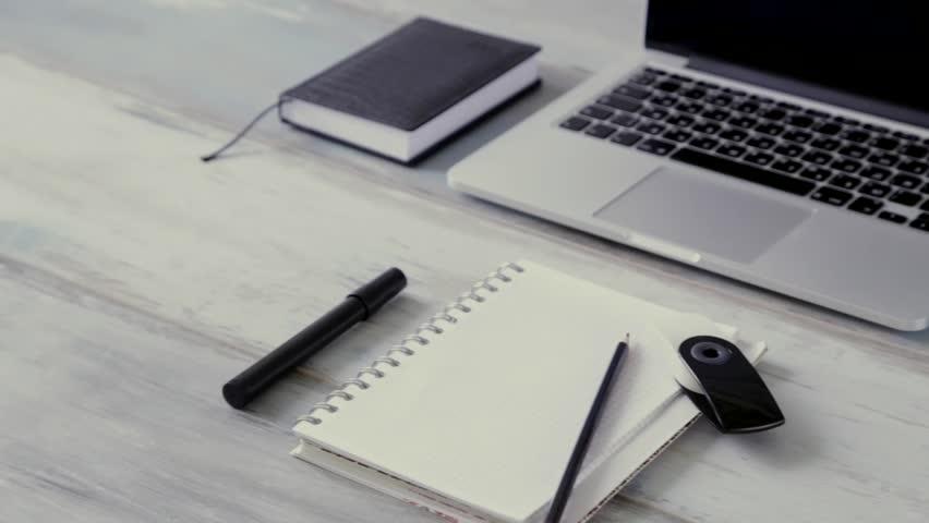 Workspace work desktop black and white business stylish modern space