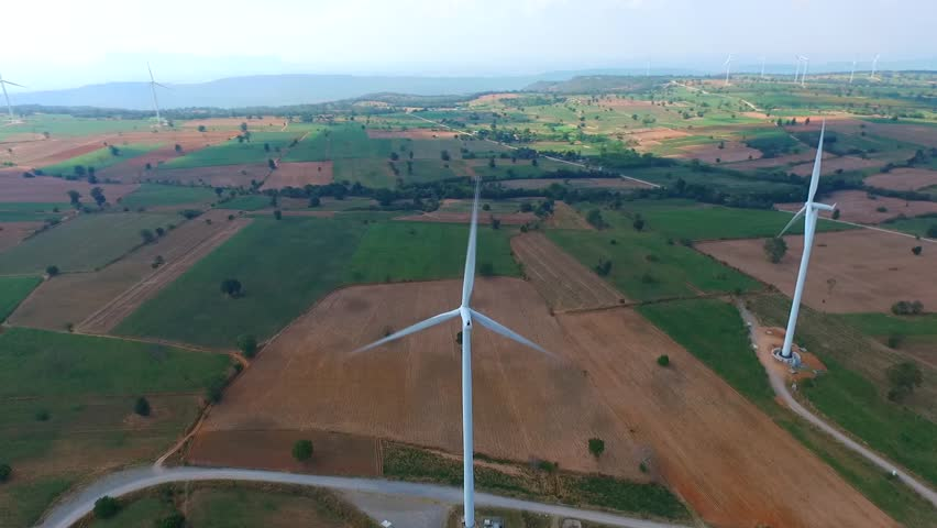 Wind turbine fields. Wind turbines generating electricity. Wind turbine fields in Thailand. Renewable Energy. Alternative energy. | Shutterstock HD Video #14960365