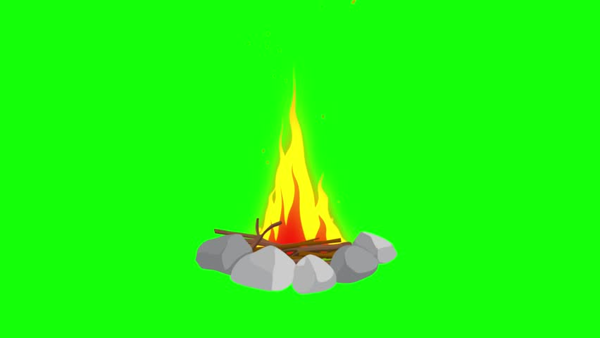 Animation Of Fire Burning, Fire And Wood , Cartoon, Green ...