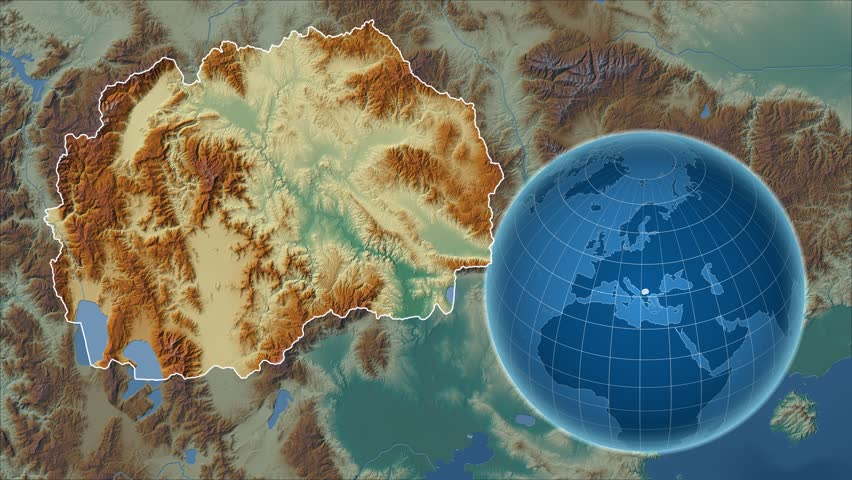 Macedonia shape animated on the relief map of the globe | Shutterstock HD Video #14970904