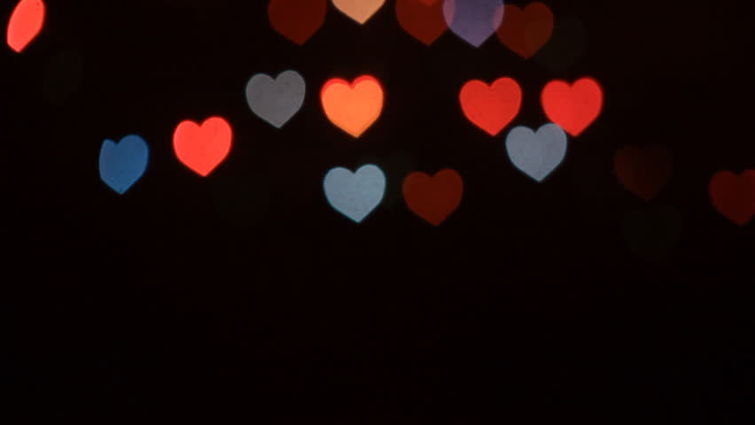 Bokeh Heart Shape Of Light Background Stock Footage Video: Abstract Valentine's Day Heart Shaped Blinking Bokeh