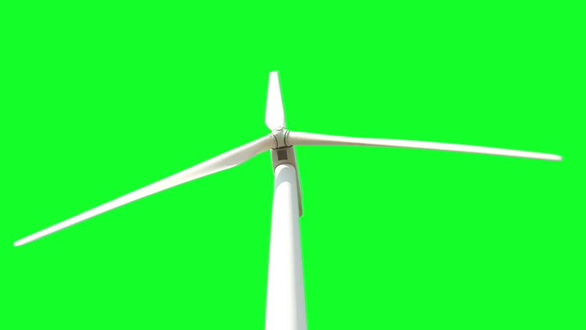 Regular a white wind turbine rotating and the wind creating electric energy from wind power on a green screen background,Full HD - HD stock footage clip