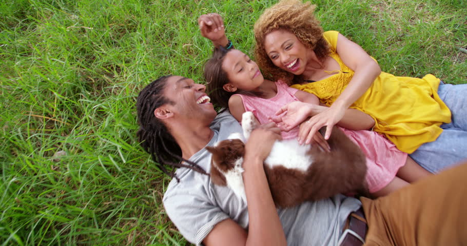 Sweet top view shot of family resting on the grass of their local park in the shade playing with their cute fluffy new puppy.