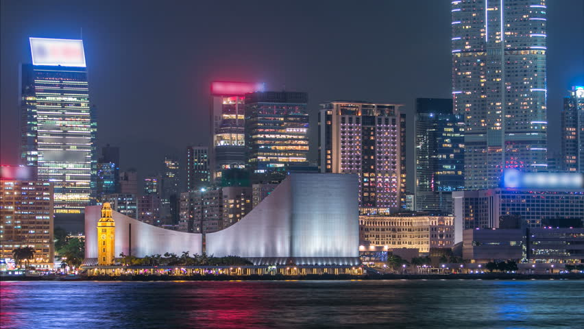 Hong Kong Cultural Centre with colorful light projection on its wall timelapse. | Shutterstock HD Video #15049330