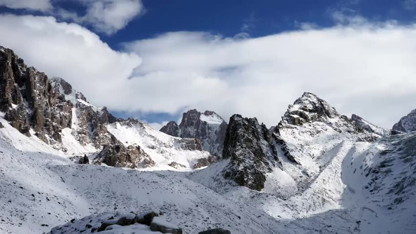 Panoramic view of the winter mountains. Kyrgyzstan.Ala-Archa.  | Shutterstock HD Video #15061588