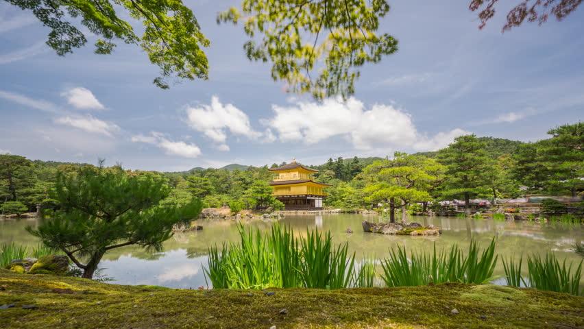 Amazing Time lapse of Buddhist Kinkaku-ji (Golden Pavilion) temple, Kyoto, Japan. 4k Resolution