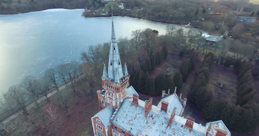 LENTVARIS, LITHUANIA - FEBRUARY 5: Aerial shot abandoned Tyszkiewicz  manor on February 5, 2016. Lentvaris Manor was a former residential manor in Lentvaris, Trakai district municipality, Lithuania