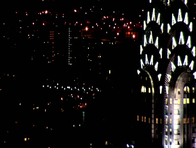 Pull Out from Chrysler Building Framed Right to Wide of New York - HD stock video clip