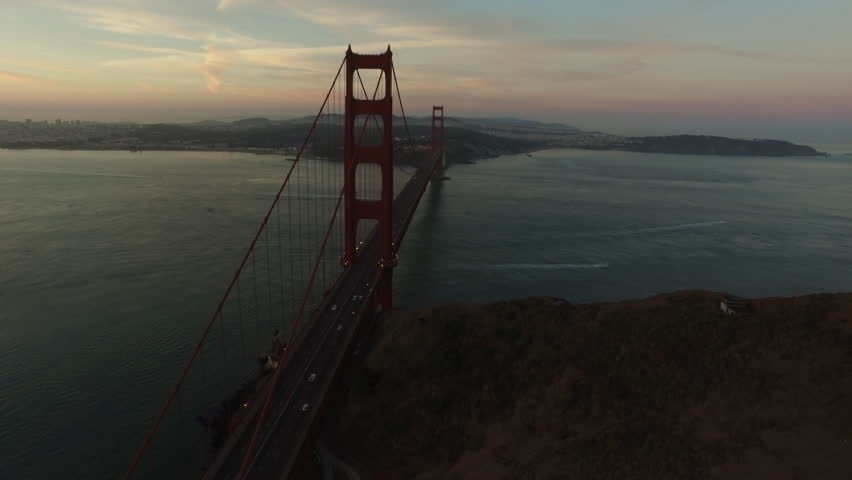 Golden Gate Bridge at dusk, San Fransisco, California, aerial shot