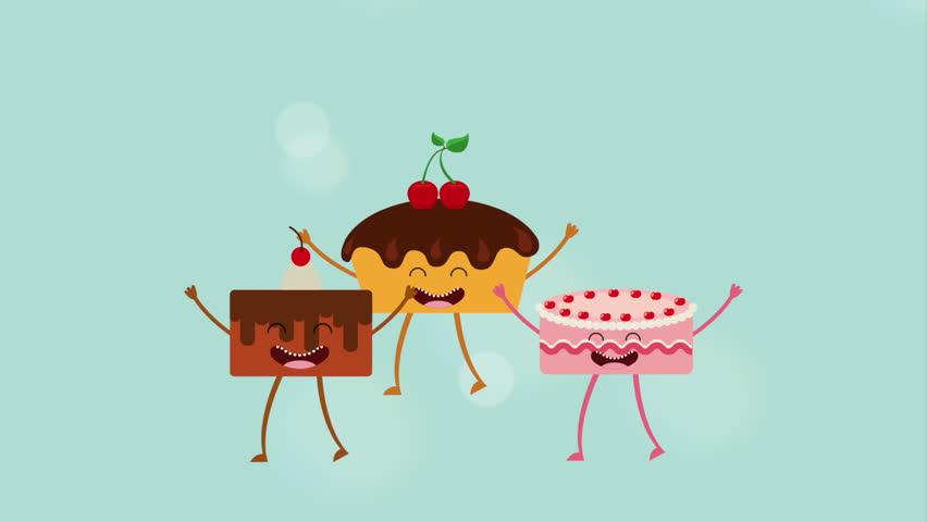 Animated Dessert Icon Design Video Animation Stock