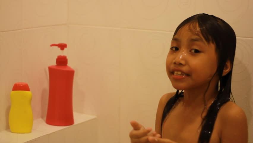 Adorable joyful kids is showering in the bathroom | Shutterstock HD Video #15167194