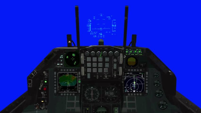 F-15 Cockpit and HUD Illustration on a Blue Screen Background