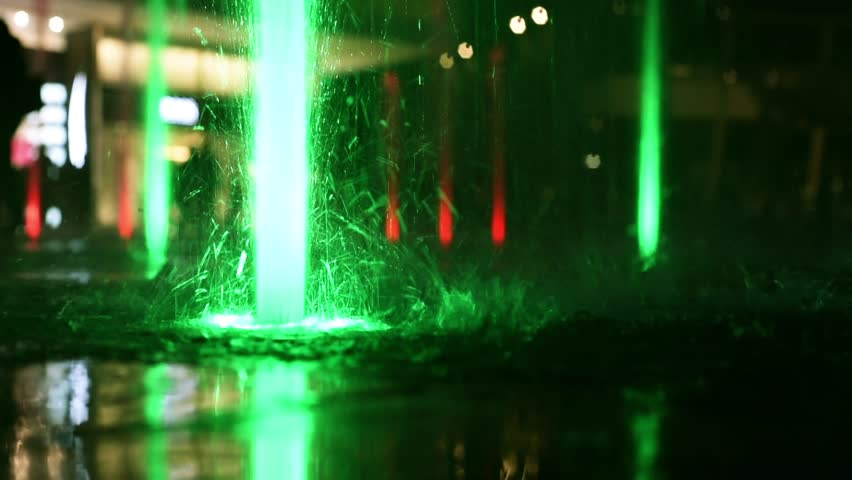 Milan Porta Garibaldi district colorful led fountains night scene different colors full hd, fhd 1080 - HD stock footage clip