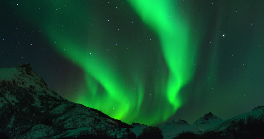 Time lapse clip of Polar Light or Northern Light (Aurora Borealis) in the night sky over the Lofoten islands in Norway in winter. #15305542