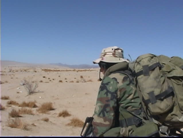 United States Marines in desert combat training - SD stock video clip