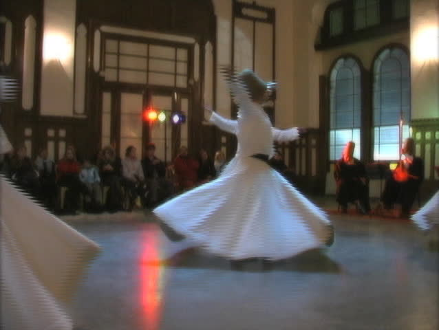 The Whirling Dervishes preform for the public in Istanbul. - SD stock footage clip