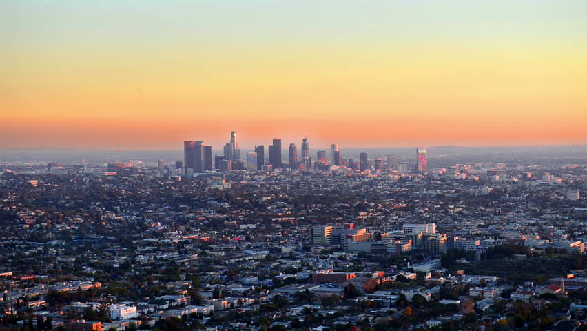 View over downtown Los Angeles at sunset | Shutterstock HD Video #15422956