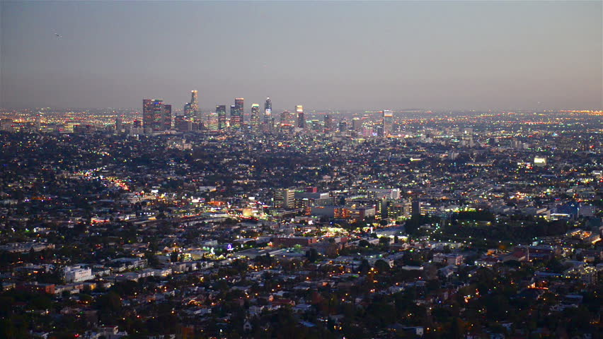 View over downtown Los Angeles at night  | Shutterstock HD Video #15423226