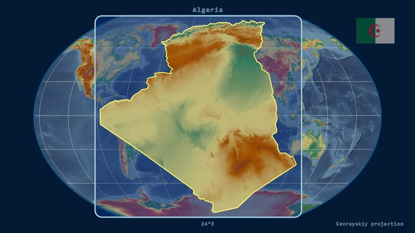 Zoomed-in view of a Algeria outline with perspective lines against a global relief map in the Kavrayskiy VII projection | Shutterstock HD Video #15447841