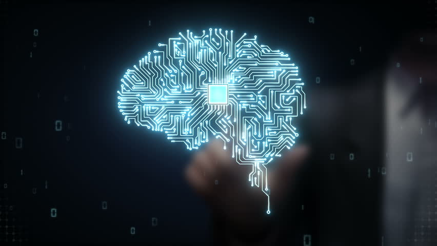 Businessman touching Brain CPU chip, grow artificial intelligence | Shutterstock HD Video #15450451