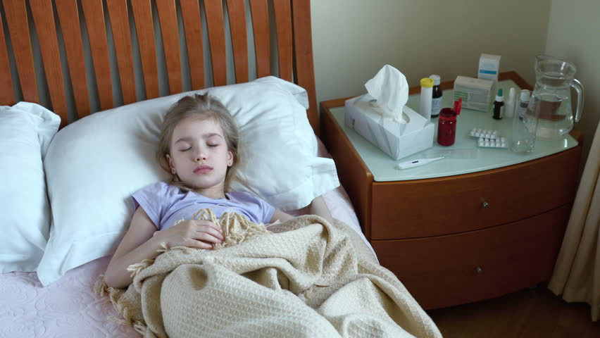 Portrait Sick Girl 7 Years Old Lying On A Bed And Measures