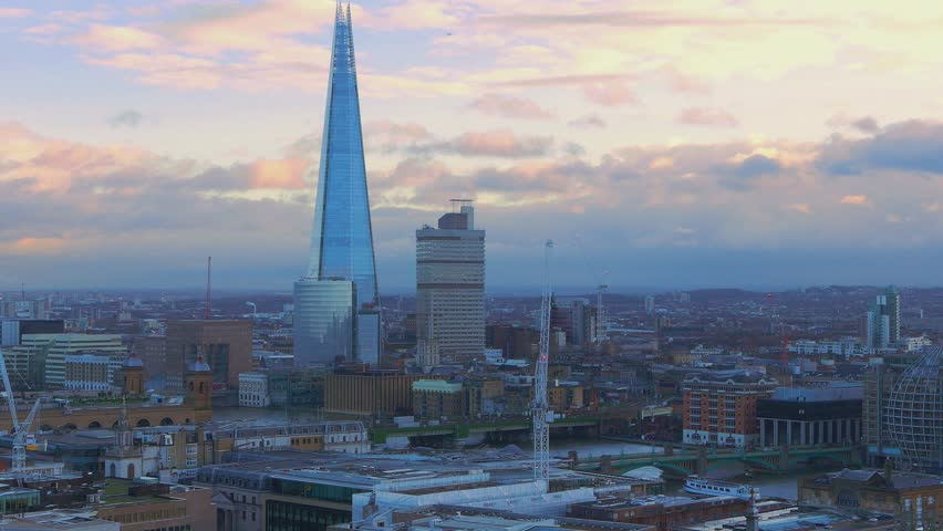 London aerial view in the evening - LONDON / ENGLAND  JANUARY 17, 2016   Shutterstock HD Video #15512380