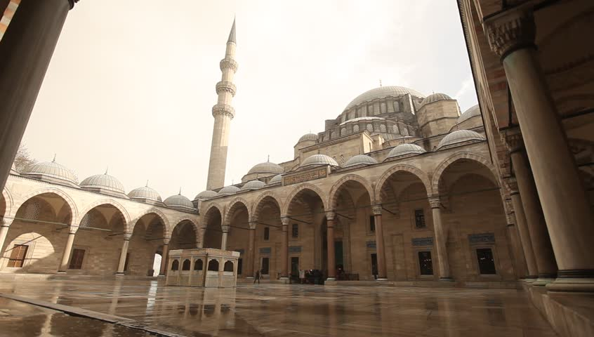 ISTANBUL,TURKEY - DEC 30 : The courtyard of the Suleymaniye Mosque on Dec 30,2015 in Istanbul,Turkey. The Suleymaniye Mosque is the largest mosque in the city,and one of the best-known of Istanbul. - HD stock footage clip