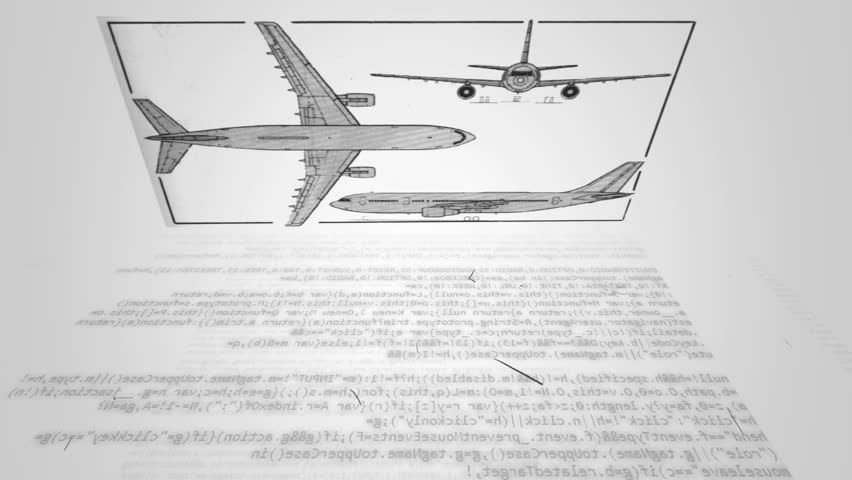 blueprint of an airplane - HD stock footage clip