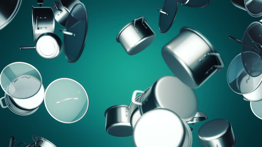 Background with animation of moving pans, saucepans and pots. Animation of seamless loop. | Shutterstock HD Video #15657082