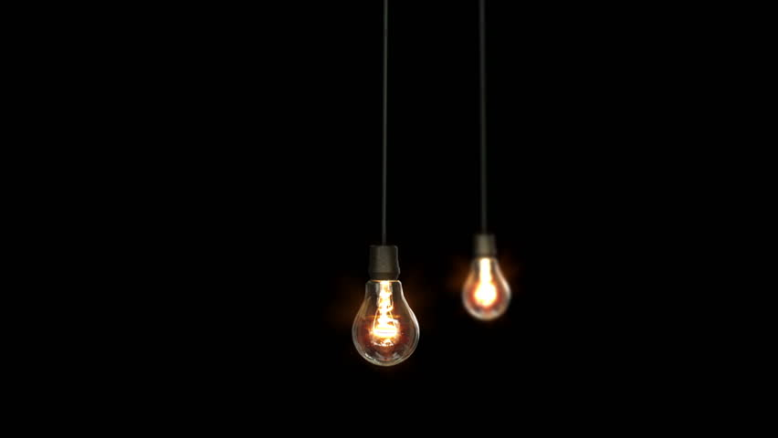 Industrial Background With Object, Light Bulb Swinging On Plain Wall Background Stock Footage ...