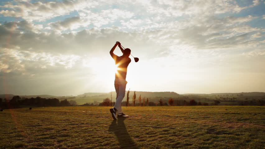 Golf Shot on a sunny autumn day, with sound - HD stock footage clip