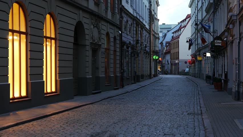 Empty city street. Europe.