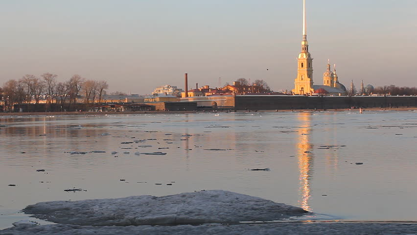 St. Petersburg, sunset on the river Neva in the spring during the ice drift. View of the Neva river and Peter and Paul Fortress. | Shutterstock HD Video #15746623