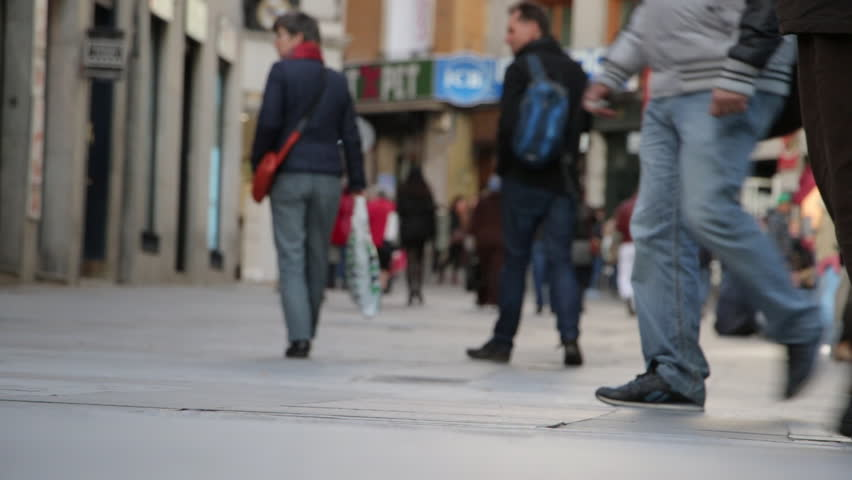 MADRID, SPAIN 08 MARCH 2016: Feet of city commuters. Legs of people on the city street - HD stock video clip