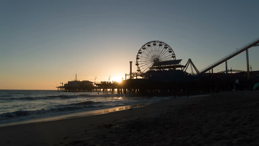 Sunset Time Lapse of the Santa Monica Pier. - 4K stock video clip