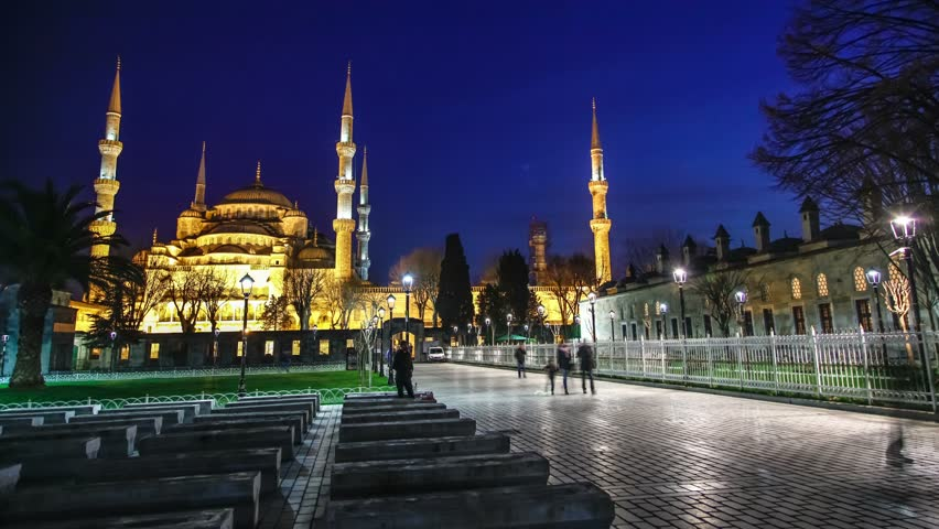 Istanbul, Turkey - March 21, 2016: Sultanahmet (Blue Mosque) at night. Timelapse video - 4K stock footage clip