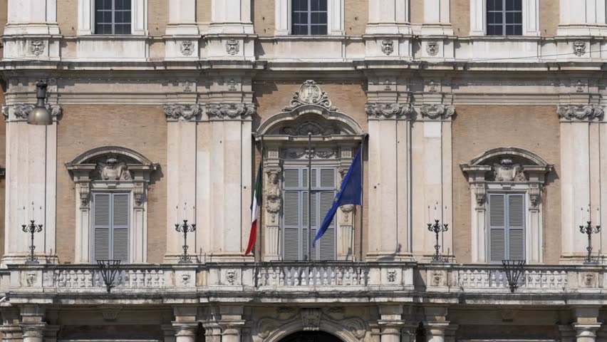 Europe flag flies in front of the military academy of Modena. Italy   Shutterstock HD Video #15880210