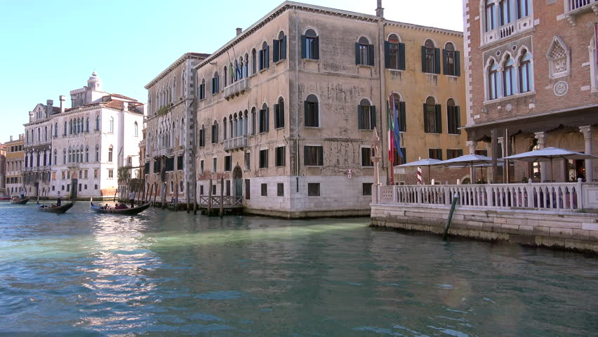 VENICE, ITALY APRIL 12, 2016: Views of the city and activity on the Grand Canal - 4K stock video clip