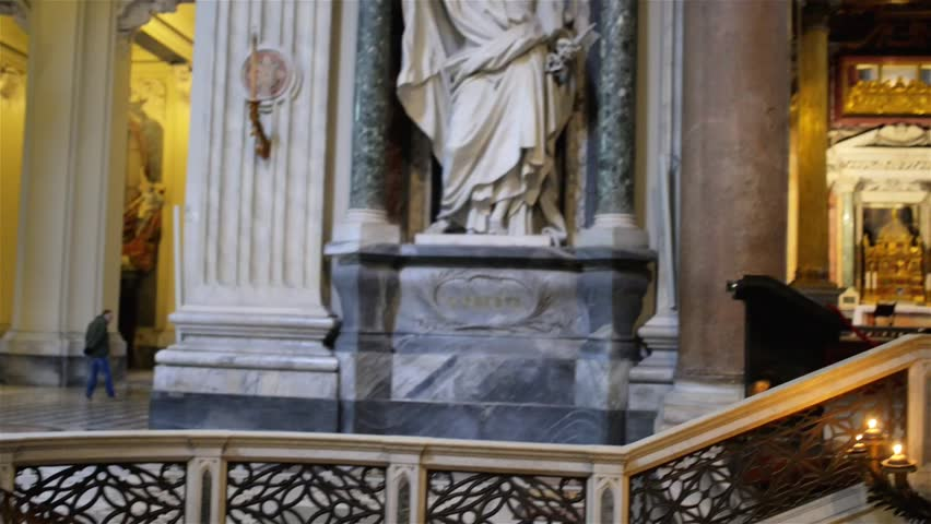 ROME, ITALY - JANUARY 23 2015: Papal Archbasilica of St. John in Lateran or just The Lateran Basilica, is cathedral church of Rome and official episcopal seat of Bishop of Rome, the Roman Pontiff. - HD stock video clip