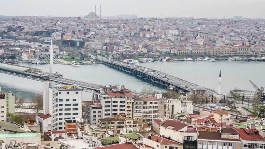 Istanbul, Turkey - March 19, 2016: Golden Horn bay . The historic district of the city. View from Galata Tower.  Timelapse - 4K stock footage clip