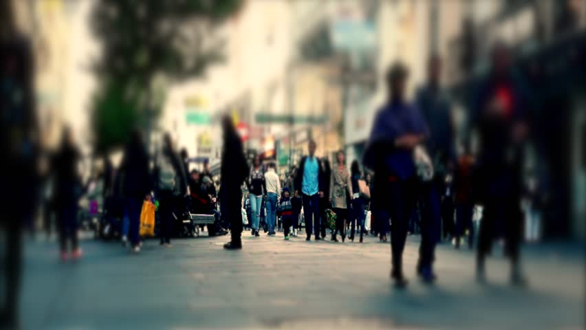 people walking on busy street in big city,center in the city with people rush ,abstract people in the city,4k - 4K stock video clip