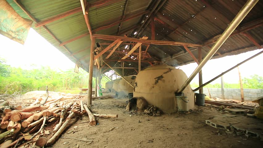 Smoke from The Clay Kiln for Traditional Charcoal