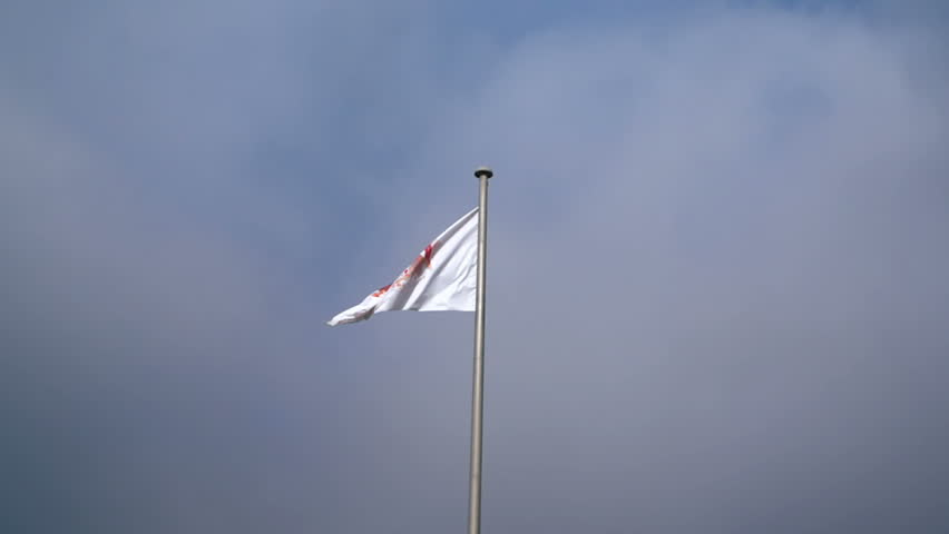 Flag of Monaco waving in the wind with flagpole #16031131